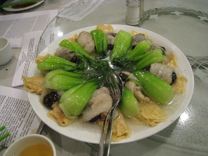 "Po Kong ""Bamboo pith rolls"" Stinkhorn stems stuffed with Shiitake and Enoki (photo: Scott Redhead)"