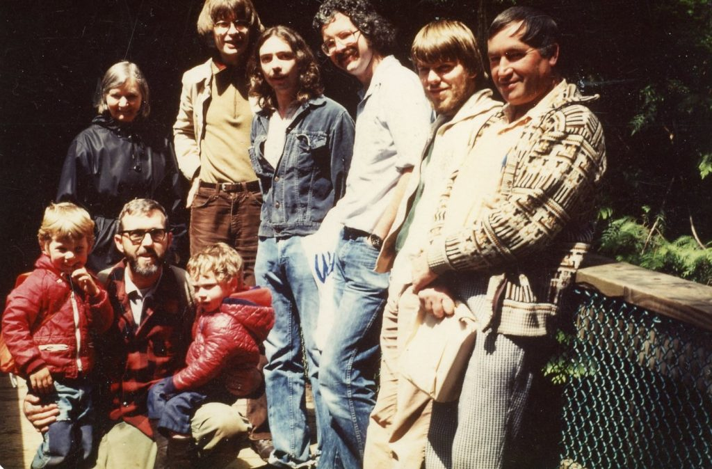 Circa 1980. Left to right: Dick Fraser & sons. Helene & Ole Juul, Paul Kroeger, UBC students Andy MacKinnon and Keith Siefert, Les Wigglesworth. (Photo: A. McKinnon) (photo: Kitsy Fraser)
